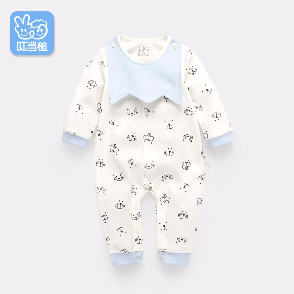 Dinstry Autumn baby romper jumpsuit newborn baby boy baby girl spring summer 6 months to 1 year old baby clothes 3pcs set newborn infant baby boy girl clothes 2017 summer short sleeve leopard floral romper bodysuit headband shoes outfits