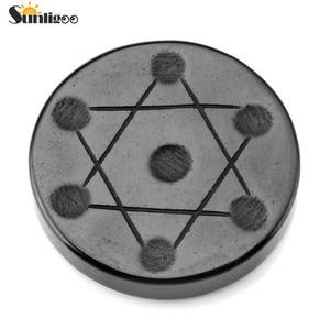 Image 2 - Sunligoo Mini 7 Chakra Crystal Plantonic Solids Geometry Black Obsidian Stand Polishing Tumbled Reiki Healing Natural Stones Set