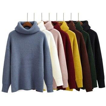 Harajuku для женщин сплошной цвет Водолазка свободные краткое термальность утолщение ретро свитер женский Kawaii вязаный джемпер и пуловер
