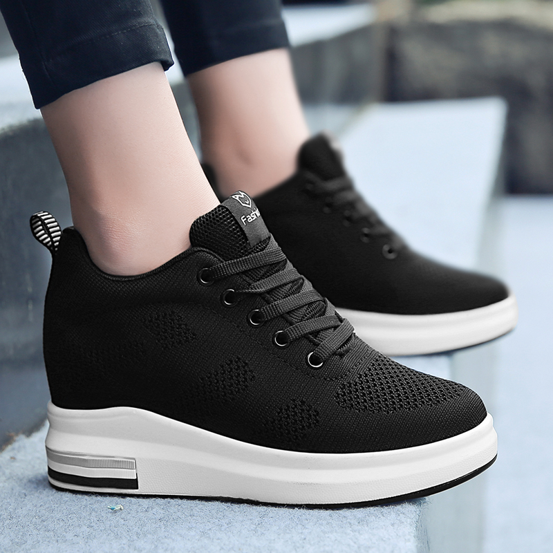 Hide Heel Women Fashion Sneakers Flying Knitting Wedge Casual Shoes Woman Air Mesh Breathable Autumn High Top Ladies Shoes SH3 (28)
