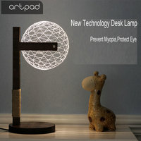 Artpad Round 3D Acrylic LED Night Light Dimming Desk Baby Kid Nightlight With Wooden Stand For