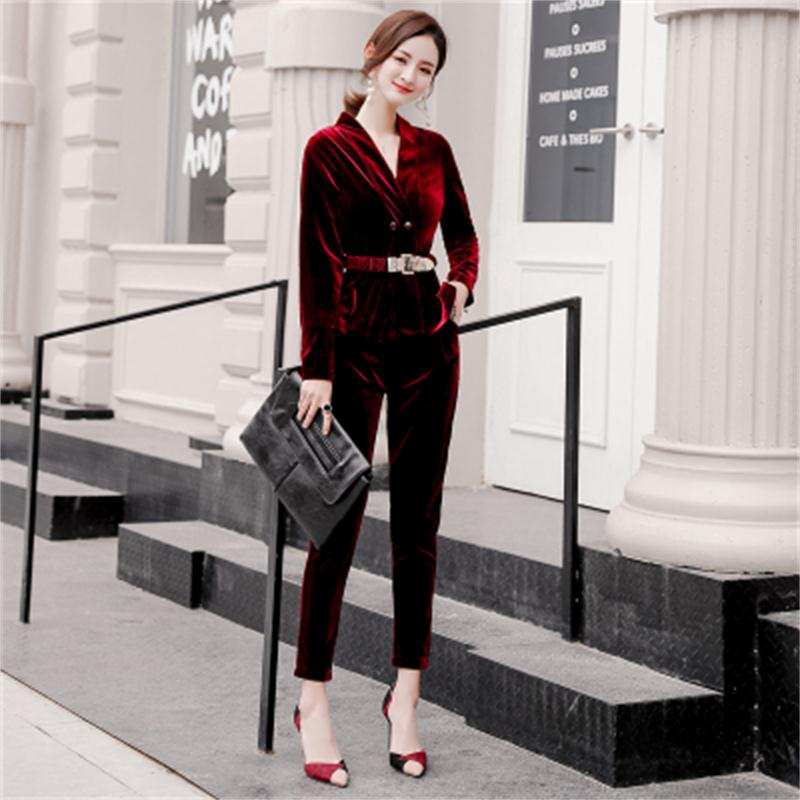Autumn NEW Fashion Feet Pants Gold Velvet Suit Female Casual Double breasted Suit Two piece Suit