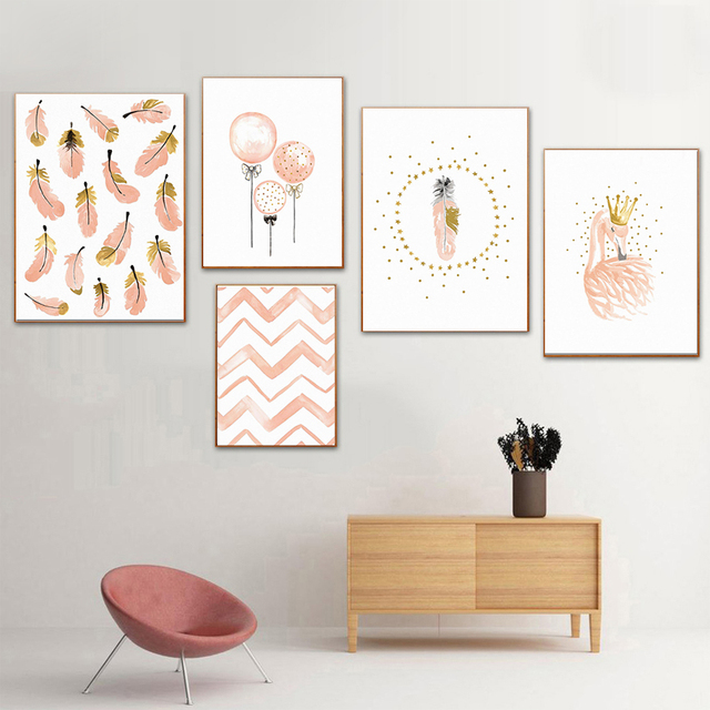 Nursery Decoration Flamingo Feather Girl Bedroom Wall Art Canvas ...