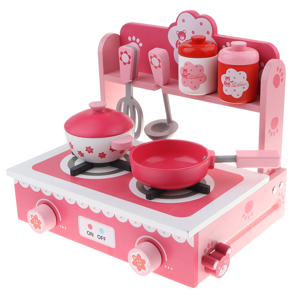 Pink Kitchen Playset Simulation Wooden Cookware Pretend Role Play Toy For Kids