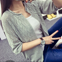 New 2015 Fashion Women Cardigan Sweet Candy Color Crochet Knit Blouse Sweater Cardigan Coat 6 Colors