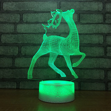Cute Deer Shape 3D LED Table Lamp Baby Touch Colorful 7 Color Change Acrylic Night Light Home Bedroom Decor Kids Christmas Gifts недорого
