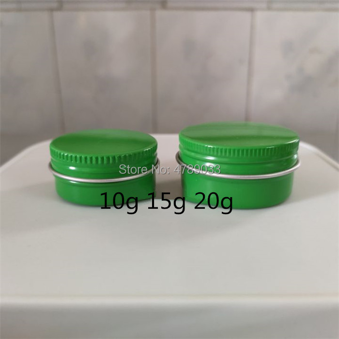 30/50pcs 10g 20g Green Empty Aluminum Jars Refillable Cosmetic Bottle Ointment Cream Sample Packaging Containers Screw Cap