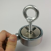 1pcs Two Side 300KG Magnetic Attracting Force Strong Holding Neodymium Recovery Fishing Detecting Magnet Pot With