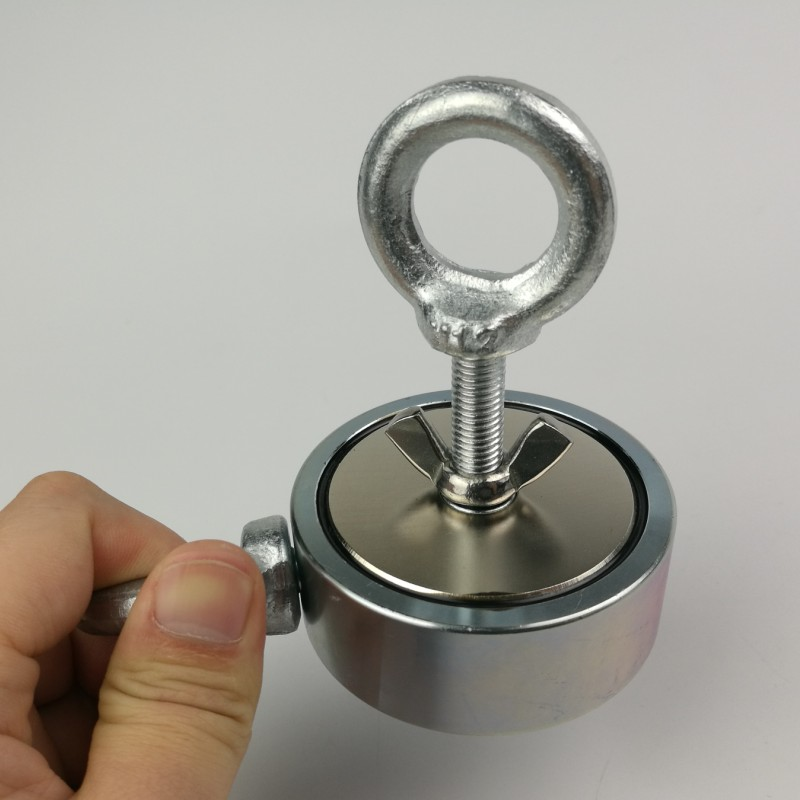 1 pz due lato 300 kg magnetico attirare forza forte in possesso il recupero di pesca di rilevamento magnete al neodimio pentola con un golfare