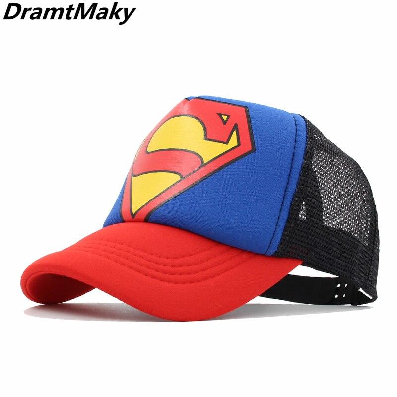 Superman Mesh cap Kids Baseball Caps Fashion Children Snapback Caps Boys Girls Hip Hop Hat Cap Mesh Summer Hats gorras casquette(China)