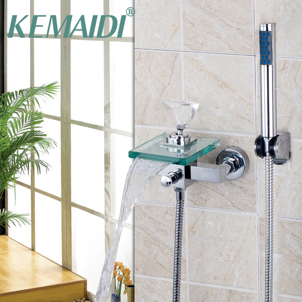 KEMAIDI Bathroom Basin Faucet Single Handle Diamond Wall Mounted Waterfall Sink Mixer Tap With Hand Shower Set free shipping polished chrome finish new wall mounted waterfall bathroom bathtub handheld shower tap mixer faucet yt 5333