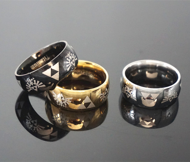 the legend of zelda 1pc anime triforce zelda logo ring triforce black metal figure fashion ring - Zelda Wedding Ring
