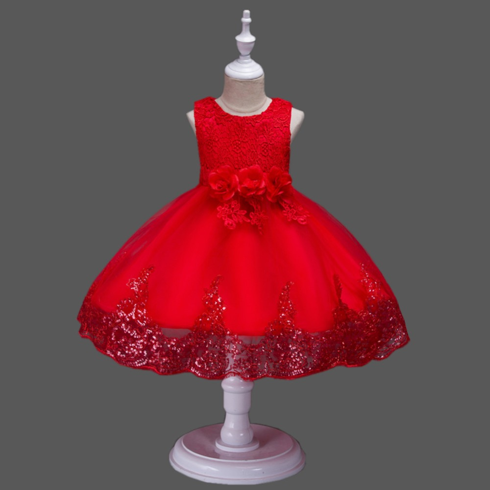 Flower Girls Dress Summer 2018 Baby Girls Lace Princess Dress Ball Gown Kids Party Dresses For Girls Wedding Clothing 3-12 Years new girls summer floral dress princess kids knee length ball gown lace sling wedding dresses for party children beach dress