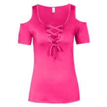 Summer Women T Shirt Solid Color With Lace Up Bandage Criss Cross MT
