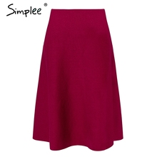 Simplee Elegant A-line knitted women skirt fashion 2018 Autumn winter mid skirt vintage High waist casual umbrella skirt female