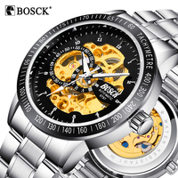 BOSCK Skeleton Automatic Mechanical Watch Luxury Men Watch Waterproof Fashion Casual Military Sports Watches Relogios Masculino