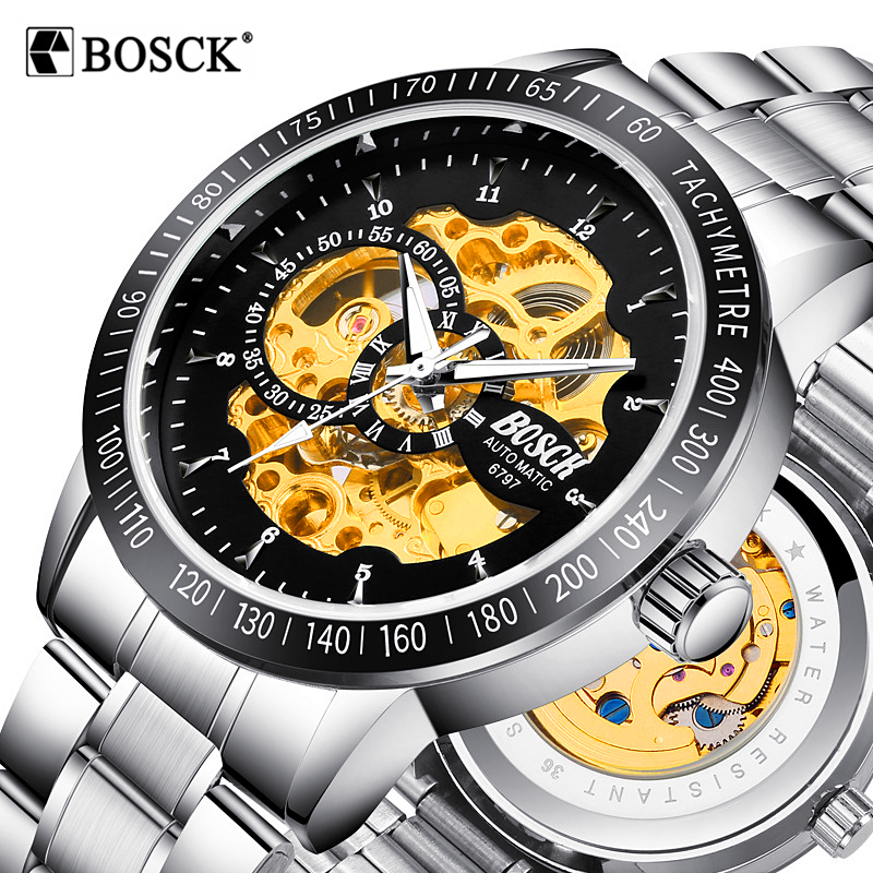 BOSCK Skeleton Automatic Mechanical Watch Luxury Men Watch Waterproof Fashion Casual Military Sports Watches Relogios Masculino relogios masculino sollen calendar mechanical watch luxury men black waterproof fashion casual military brand sports watches