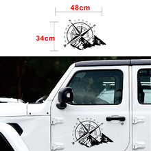 Black off road compass snow mountain decal hood graphic vinyl car sticker for toyota hilux revo vigo pickup accessories