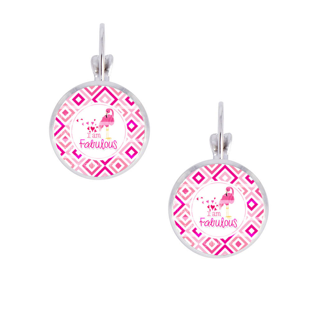 2016 New Arrival 1pair Pink Flamingo Photo 14mm Glass Cabochon Clip Earrings,  Adorable Bird Alloy