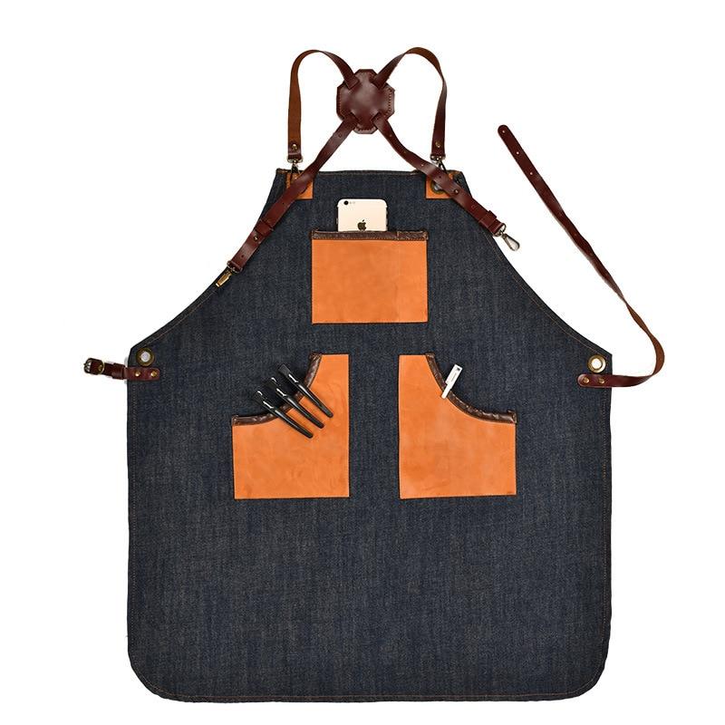 Denim Küche Kochen Schürze mit Einstellbare Baumwolle Band Große Taschen Blau Barista Männer und Frauen Homewear