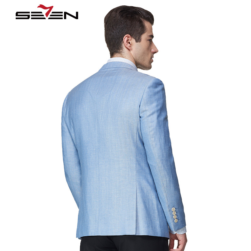 Seven7 Light Blue Fashion Casual Blazer Men Tailor Made Mens Linen Suit Jacket Summer Custom Made Male Clothes 2018 New Arrival