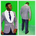 A Estrenar Azul Marino Mantón Blanco Solapa Del Novio Esmoquin Padrinos de Boda Hombres Trajes de Boda Mejor Hombre (Jacket + Pants + Tie + Pañuelo) B912