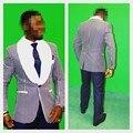 Nova marca Azul Marinho Xaile Branco Lapela Do Noivo Smoking Padrinhos Homens Ternos de Casamento Best Man (Jacket + Pants + gravata + Lenço) B912