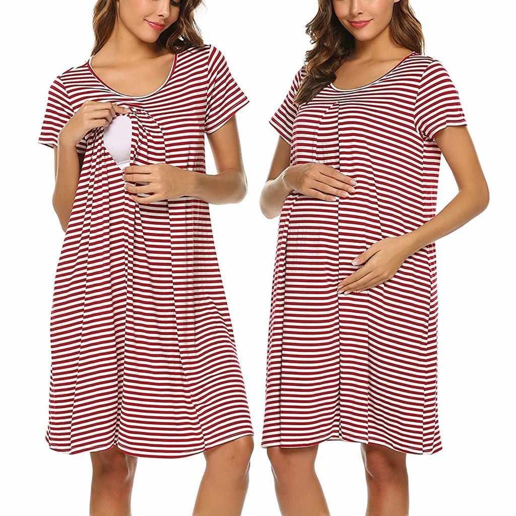 Материнство, грудное вскармливание платья Для женщин для беременных с коротким рукавом в полоску для кормления маленьких ночная рубашка халат для кормящих женщин Vestidos штук; # A