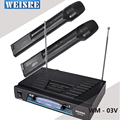 WEISRE WM 03V Professional Dual channel Karaoke Wireless Handheld VHF Transmitter Microphone Set For Party Bar Speech