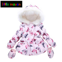 2018 Winter Baby Girls Outwear Kids Clothes Down&Parkas with Gloves Cotton Butterfly Children's Thickening Hoodies Coat 18M 5yrs