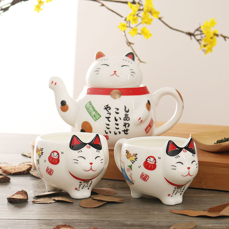 Japanese pottery cute cartoon cat teapot and cup suit lovely fortune cat mini tea set gift box tea pot coffee milk mug sets
