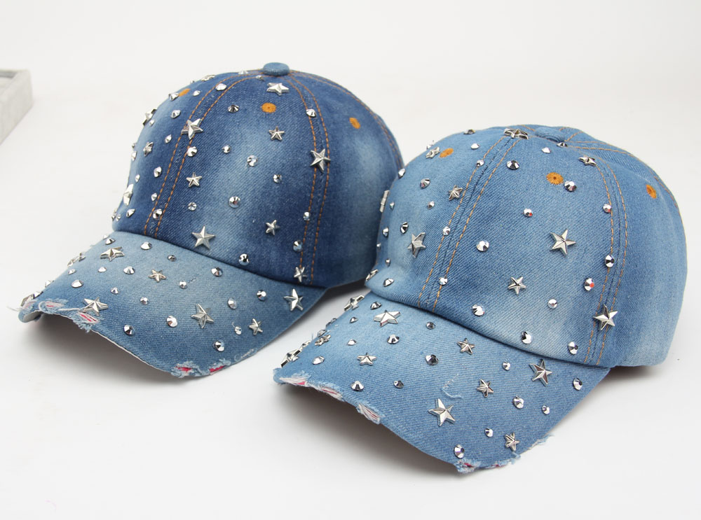 SUNSPA  Adjustable cap new design popular women rhinestone denim baseball cap fashion woman jean crystal hip hop snapback hats