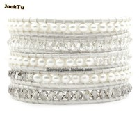 crystal mix natural fresh water pearl leather wrap bracelet