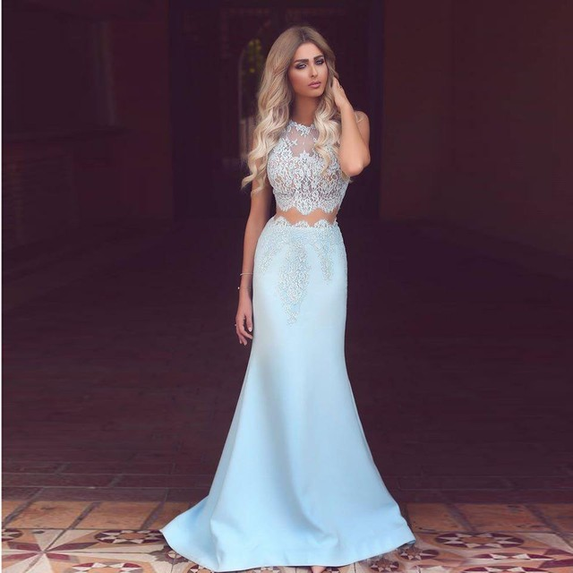 6d7be3453d04 € 108.37 |Elegante Cordón de la Menta Sirena Vestidos de Noche Largos Sexy  Opacidad Satén Por Encargo del vestido de Fiesta Vestido de Fiesta ...