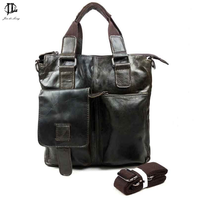 New Retro Oil Wax/Crazy Horse Genuine Leather Men Handbag Crossbody Shoulder Bags Business  Messenger Bag Travel Zipper Bags joyir men briefcase real leather handbag crazy horse genuine leather male business retro messenger shoulder bag for men mandbag