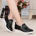 Woman shoes 2017 autumn new breathable genuine leather casual shoes increased within Carrefour singles shoes, free shipping