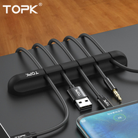 TOPK Silicone USB Cable Winder Desktop Cable Tidy Management Multipurpose Clips Cables Holder for Mouse Headphone Wire