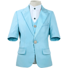 Dollbling odzież dziecięca niebieski biały proszek z krótkim rękawem letnia sukienka wygodny garnitur urodzinowy drobno uszyty dziecięcy garnitur