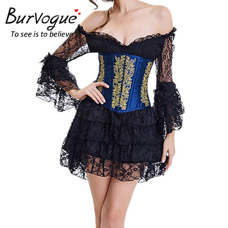 Burvogue   Corset   Dress Corselet   Corset   and Off Shoulder Lace Dress Steampunk   Corsets     Bustiers   Waist Trainer Gothic Floral   Corset