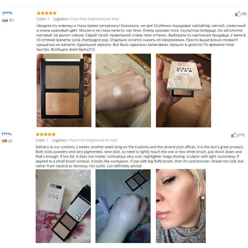 FOCALLURE Double Head D Bronzer Highlighter For Face Makeup Stick Cream Texture Contour iluminador Makeup Highlighter