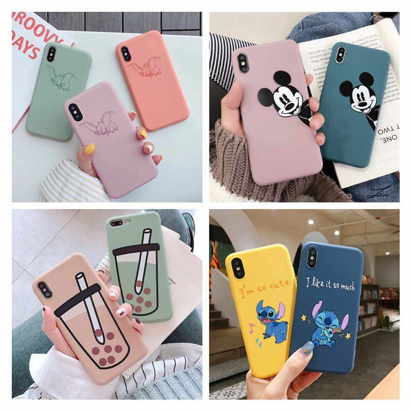 Telefoon Case Voor iPhone 6 6s 7 8 Plus X XR XS Max Leuke Cartoon Mickey Stitch Liefde Hart soft TPU Voor iPhone 5 5S SE Cover