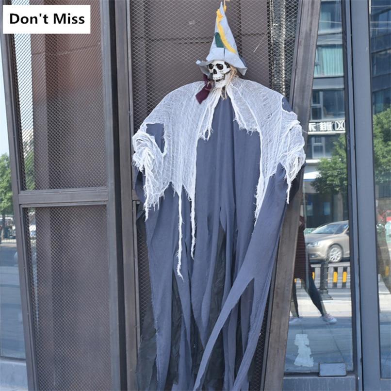 Halloween suspendu fantôme 2 m grande taille horreur crâne commande vocale Induction lumière accessoires hantée maison peur ornement Halloween