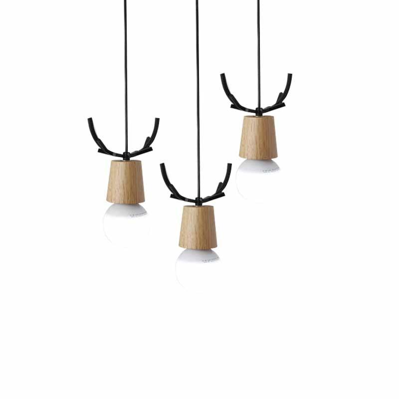 Nordic Antler Wood Pendant Lights Modern Northern American Art Decor Wrought Black Oak Pendant Lamp For Kids Dining Room Living