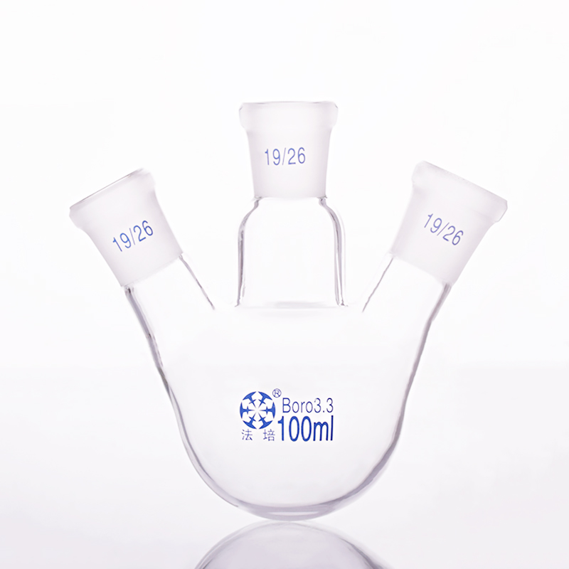 Three-necked flask oblique shape,with three necks standard grinding mouth,Capacity 100ml,Middle joint 19/26,lateral joint 19/26Three-necked flask oblique shape,with three necks standard grinding mouth,Capacity 100ml,Middle joint 19/26,lateral joint 19/26