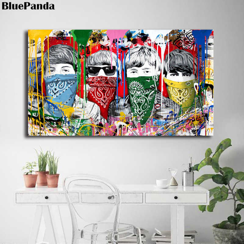 Mr. Brainwash Banksy Graffiti Poster Paintings On Canvas Modern Art Decorative Wall Pictures For Living Room Home Decoration