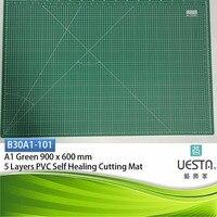 녹색 3.0 미리메터 사각형 자기 치유 5 층 PVC 재봉 절단 매트 A1 90x60 cm 36x24 인치