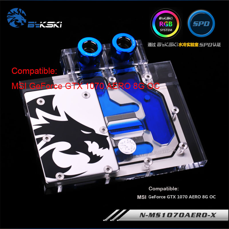 Original Bykski N-MS1070AERO-X for MSI GTX 1070 AERO 8G OC PC WaterCooling Block RGB / RBW gpu cooler with light controller цена