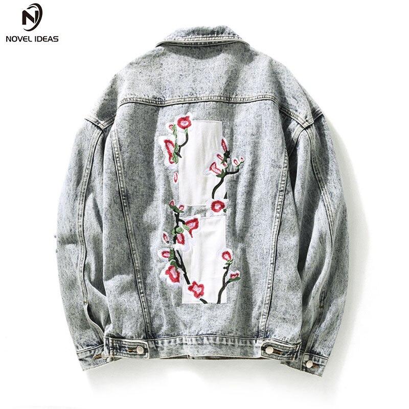Novel ideas Spring Japan Style Embroidery Peach Retro Vintage Hole Denim Jacket Men Wash White Jeans Jacket Men Bomber Mens Coat