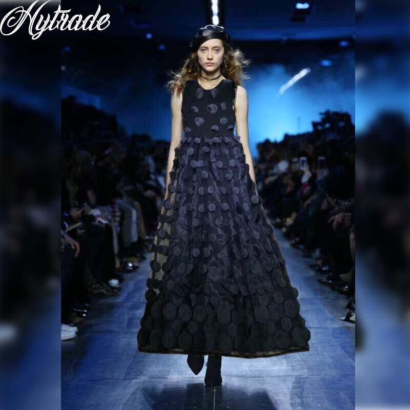 Hytrade 2018 défilé de mode UK corée Style de piste une ligne O cou sans manches femmes fête tenues noir maille disque Maxi robe de Bandge
