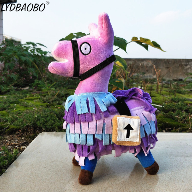LYDBAOBO 1PC 25CM Fortnite Troll Stash Llama Plush Toy Hot Game Soft Alpaca Rainbow Horse Stash Dolls Toys Kids Birthday Gifts